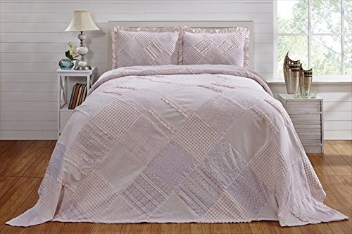 Better Trends / Pan Overseas 120 X 110 Inch Ruffled Chenille Patchwork Bedspread, King, Pink ()