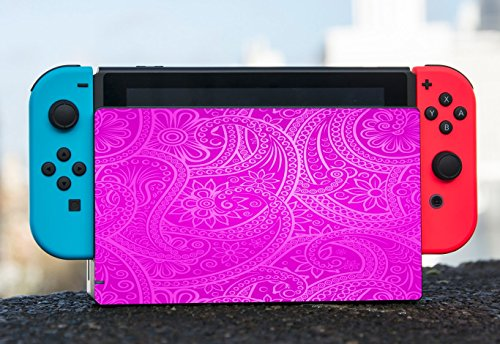 Tribal Hot Pink Pattern Design Nintendo Switch Dock Vinyl Decal Sticker Skin by Moonlight Printing