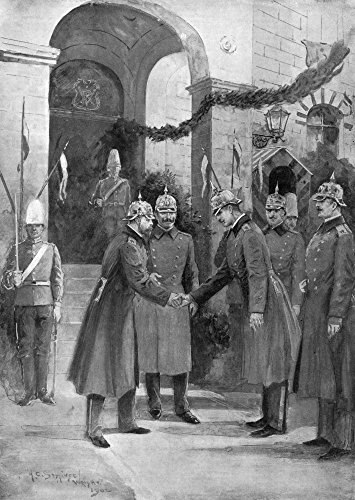 George V (1865-1936) Nking Of England 1910-1936 As Prince Of Wales While Kaiser Wilhelm Ii Of Germany Presents Officers Of The 1St Prussian Dragoon Guards 26 January 1902 Contemporary English Illustra