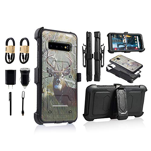 6goodeals Compatible with Galaxy S10 Case Military Grade Drop Tested with Built in Kickstand Holster [Value Bundle] (Deer)