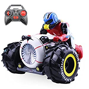 Fistone RC Car Amphibious Off Road Monster Remote Control Motorcycle Buggy Stunt Racing Drift Bigfoot Vehicle Rock Crawler Truck Flips& Spins Hobby Toy with Flashing Light
