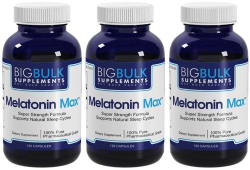 Max mélatonine naturelle sommeil Cycle Support Big vrac 10mg suplements mélatonine 360 Capsules 3 Bouteilles