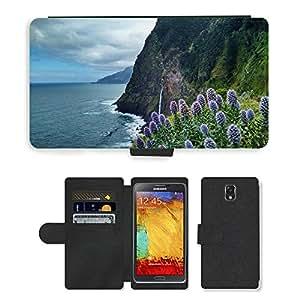 CARD POCKET BOOK CASE PU LEATHER CASE // M00421258 Flores Plantas Pristine costeros // Samsung Galaxy Note 3 III N9000 N9002 N9005