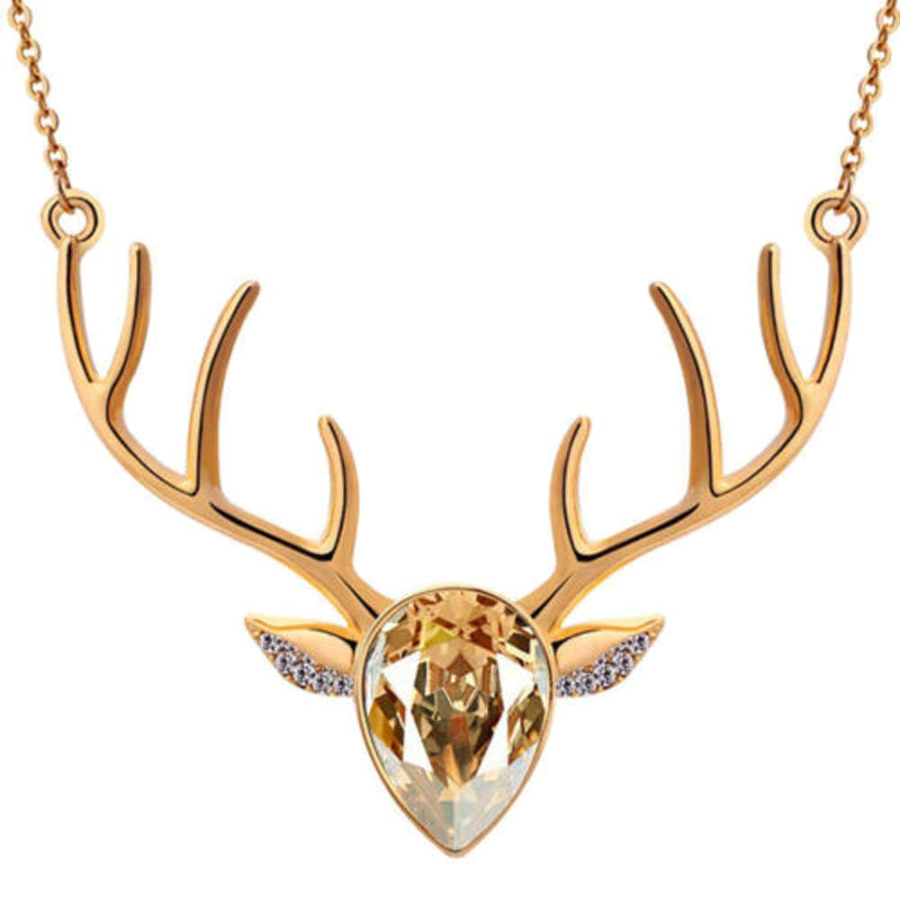 Clearance! Women Exquisite Crystal Christmas Milu Antler Deer Head Pendant Clavicle Chain Delicate Necklace Gifts Challyhope