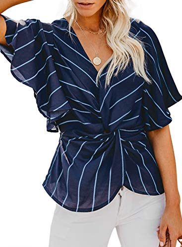 Blouse Shirt Denim - Dokotoo Womens Casual Spring Summer Batwing Short Sleeve V Neck Line Stripes Loose Knot Twist Blouse Fashion Tops and T Shirts for Jeans XX-Large