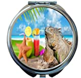 Rikki Knight Iguana and starfish on Mexico tropical beach Design Round Compact Mirror