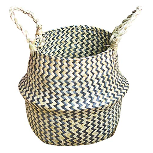 charts_DRESS Natural Artcraft Medium Seagrass Belly Plant Basket with Handles Zigzag Woven Planter Basket for Storage, Laundry, Picnic, and Beach Bag (Multicolor)