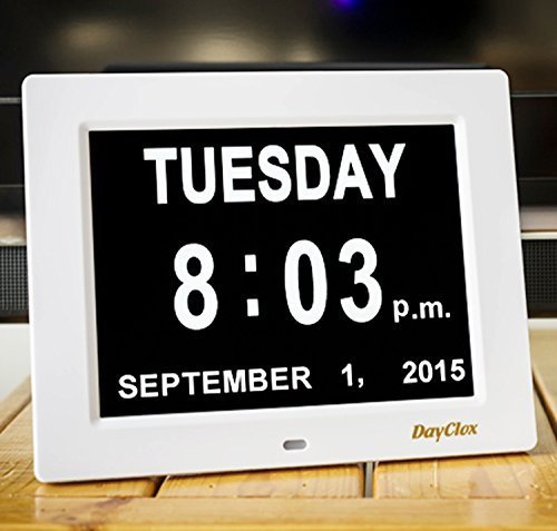 DayClox - The Original Memory Loss Digital Calendar Day Clock with Extra Large Non-Abbreviated Day & Month. Perfect for Seniors