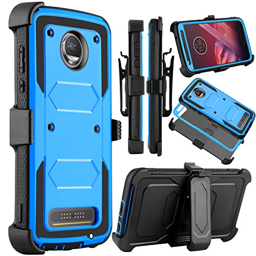 Moto Z2 Force Case, Moto Z2 Play Case, Venoro Heavy Duty Shockproof Full Body Protection Rugged Hybrid Case Cover with Swivel Belt Clip and Kickstand for Motorola Z Force 2017 (Blue)