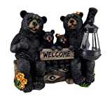 Zeckos Resin Outdoor Figurine Lights Beaming Bears Welcome Statue W/Solar Led Lantern 12.5 X 11 X 6 Inches Black