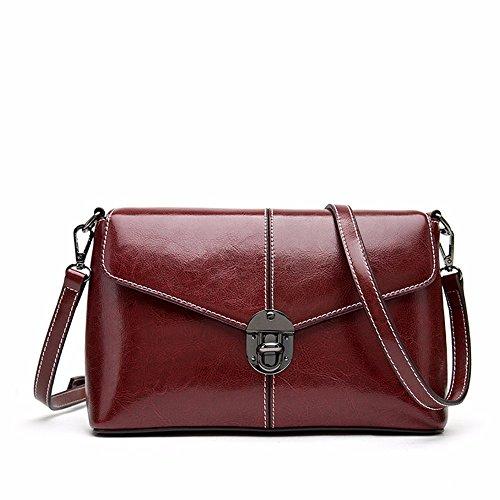 2018 New Leather Leather Bag, Sac en cuir pour femme simple, Poudre Claret taro