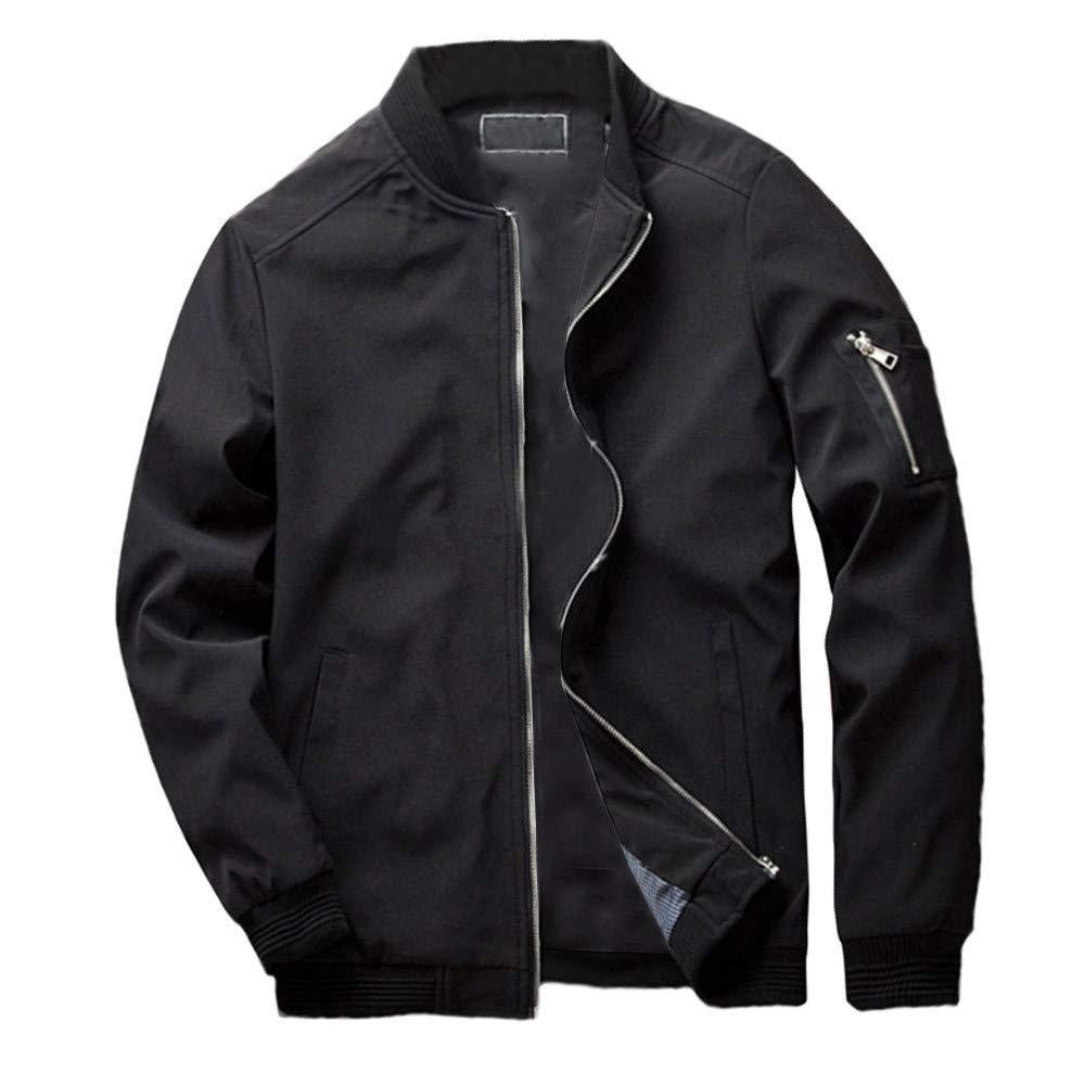 Men's Winter Coat Sale Fashion Casual Pocket Zipper Solid Color Thermal Jacket