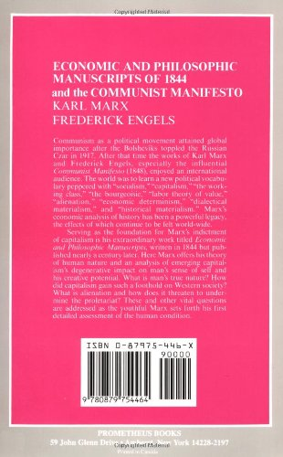 the economic and philosophic manuscripts of and the communist  the economic and philosophic manuscripts of 1844 and the communist manifesto great books in philosophy karl marx fredrick engels martin milligan