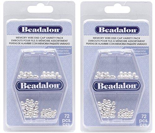 Bracelet Designs Memory Wire (Beadalon Memory Wire End Cap, Variety Pack, 72-Piece (2 Pack))