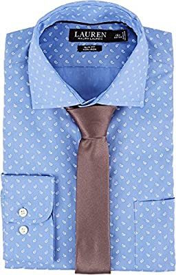 LAUREN Ralph Lauren Mens Slim Fit Non Iron Mini Paisley Poplin Plaid Spread Collar Dress Shirt