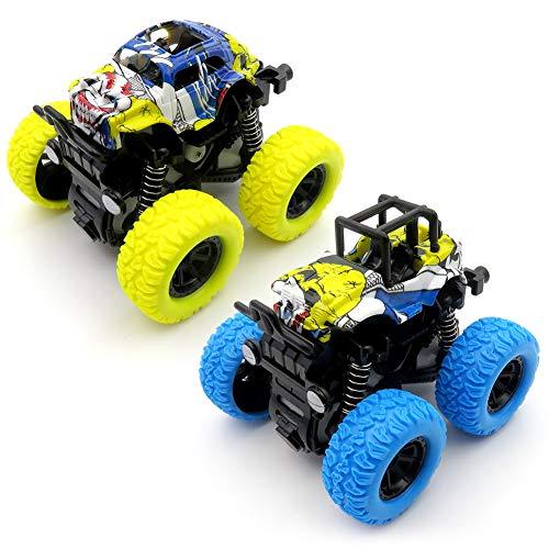 Monster Trucks Toys, Monster Trucks Inertia Car Toys Friction Powered Cars for Kids -2 pack(Blue and Yellow) ()