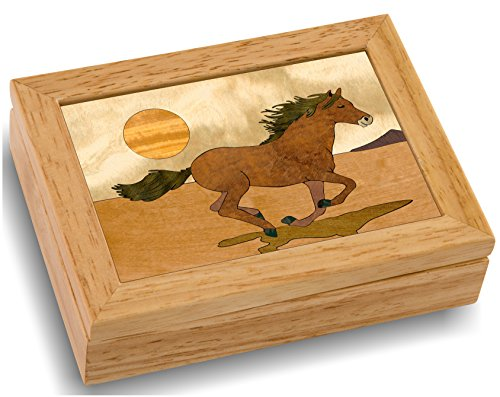 MarqART Horse Wood Art Trinket Jewelry Box & Gift - Handmade USA - Unmatched Quality - Unique, No Two are The Same - Original Work of Wood Art. (#4119 Mustang 4x5x1.5)