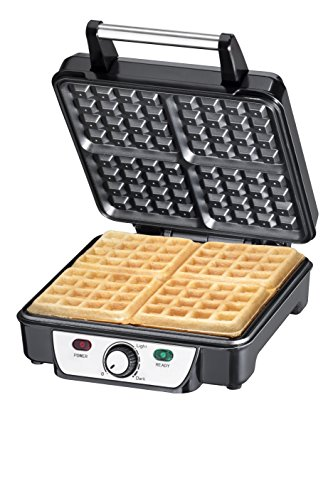 Chefman Belgian Waffle Maker, 4-Slice, Stainless Steel Non-Stick Cooking Surface, Cool Touch Handle, Adjustable Browning Control, Power/Ready Lights, Waffle Cookbook Included - RJ04-4P by Chefman