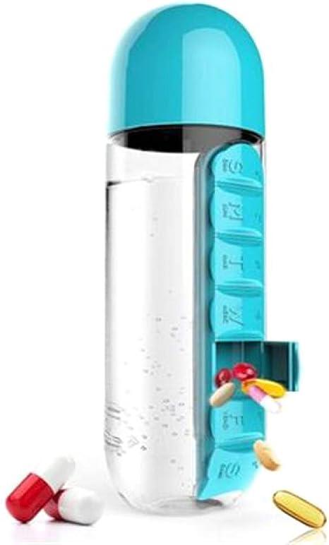 vasos para beber FzJs-J-in 600 ml 2 en 1 Pastillero diario botella de agua pastillero de viaje caja de medicamentos