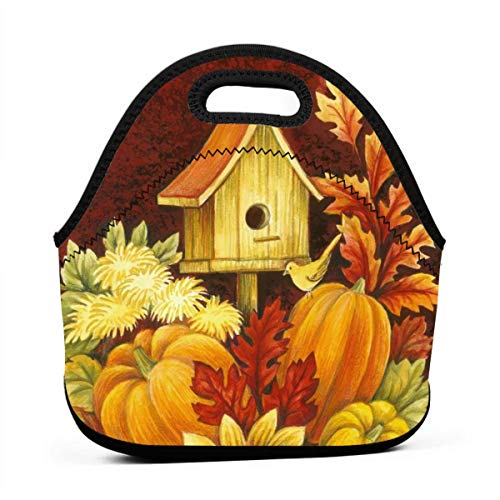- Sunmoonet Fall Birdhouse Lunch Bag Food Storage Carrying Case School Office Work Lunch Tote Bag Picnic Food Container