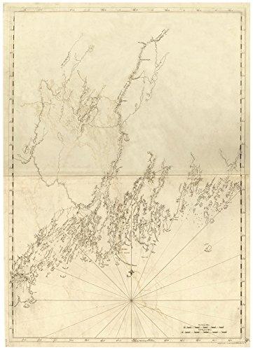 Sagadahoc - Casco Bay Maine 1776 Map - Revolutionary War Survey by British Navy - Des Barres V3-09 Reprint USA (09 Map)