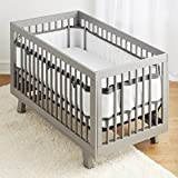 BreathableBaby Deluxe Breathable Mesh White Crib Liner, Charcoal Linen