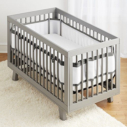 BreathableBaby Deluxe Breathable Mesh White Crib Liner, Charcoal Linen by BreathableBaby
