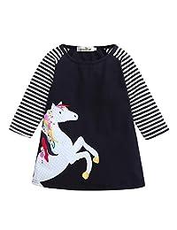 Festwolf Baby Girl Spring Clothes Horse Stripe Print Princess Party Dress Black