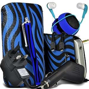 Samsung Galaxy Fame S6810 protector Cebra PU Leather Slip Tire Cord En la bolsa del lanzamiento rápido con Mini capacitivo Stylus Pen, 3.5mm en auriculares del oído, Mini recargable altavoz de la cápsula, Micro USB CE aprobado 3 Pin Cargador 12v Micro Car Charger (Azul y Negro )