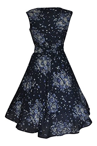 40 's - 50 's Style Vintage en coton Motif Floral Bleu foncé robe de fête