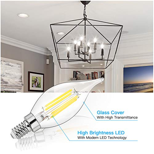 E12 LED Candelabra Bulbs 60W Equivalent Dimmable, LED Chandelier Light Bulbs 6W, 4000K Daylight White 600LM CA11 Flame Tip Vintage LED Filament Candle Bulb with Decorative Candelabra Base, 12-Pack