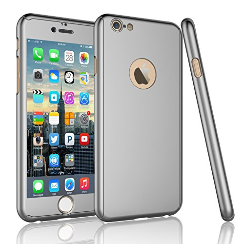 Tekcoo For iPhone 6S Plus Case, Tekcoo iPhone 6 Plus Case, [T360 HY] Ultra Thin Full Body Coverage Protection Scratch Proof Hard Hybrid Cover Shell With Tempered Glass Screen Protector [Silver] ()