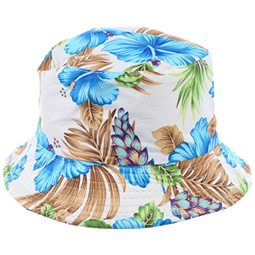 BYOS Fashion Packable Reversible Black Printed Fisherman Bucket Sun Hat, Many Patterns (Vintage Flower Blue)