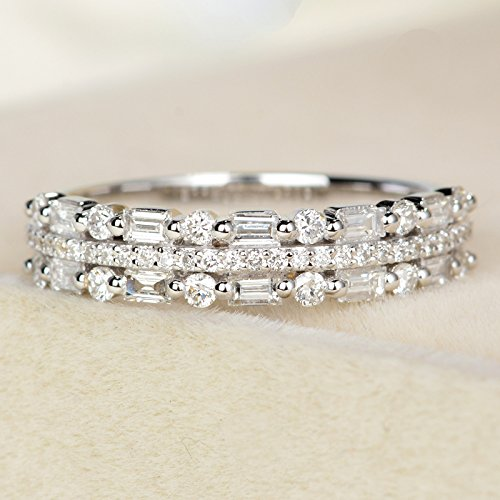 30ad50e56198f2 Amazon.com: Diamond wedding band white gold Dainty diamond ring baguette  ring 3 Row diamond Wedding ring Delicate pave diamond ring promise ring  anniversary ...