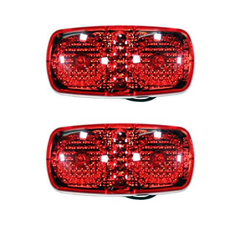 """2 Red 4"""" LED Duo Clearance Identification Fender Side Marker"""
