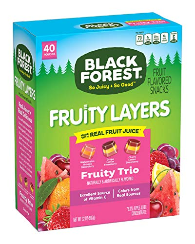 Black Forest Fruit Snacks Fruity Layers, Fruity Trio, 0.8 Ounce Bag (Pack of 40) Package may vary