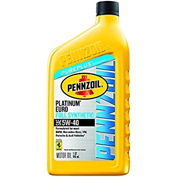 Pennzoil Platinum Euro SAE Full Synthetic Motor Oil 5W-40, 1 Quart - Pack of 6