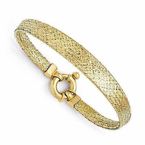 Leslie's 14k Yellow Gold Mesh Bracelet 7 Inches (Gold 14k Bracelet Yellow Mesh)