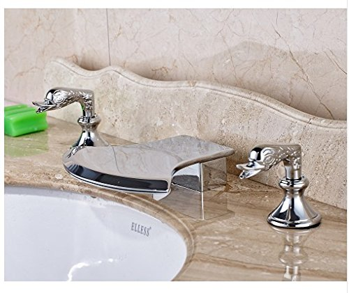 Gowe Axe Design Waterfall Spout Bathroom Sink Faucet Widespread 3pcs Mixer Tap Chrome Finished 3