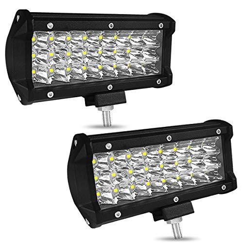 Yuehuam Led Work Light Bar, Car Fog Spot Light Road Light 7in 72W Triple LED Car Working Light Car Light Long Headlamp Vehicle Headlights for Trucks, Forklifts, Cars, Ships, Motorcycles
