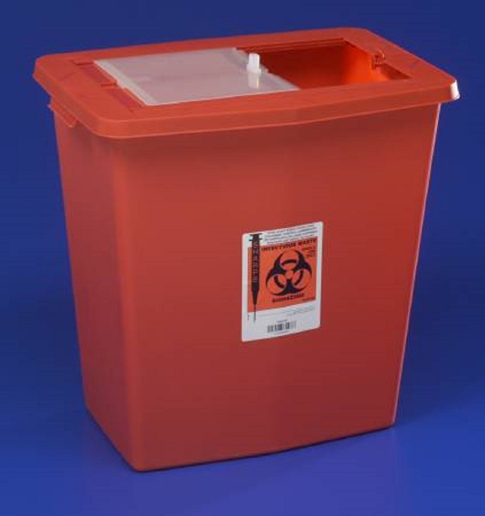Kendall/Covidien SharpSafety Sharps Containers, 18 Gallon Capacity, w/Sliding Lid, Red Base - 1/Case of 5 (KND8938_CS)