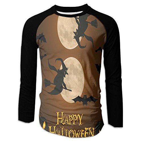 HenSLK Men's Halloween Witch Casual Novelty Crew Neck Long Sleeve Raglan Baseball Tee Gift -