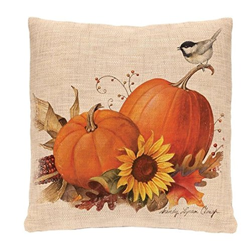 Keepfit Happy Halloween Pillow Cases Skeleton, Pumpkin, Owl and Moon Linen Sofa Cushion Cover Home Decor (Pumpkin)]()