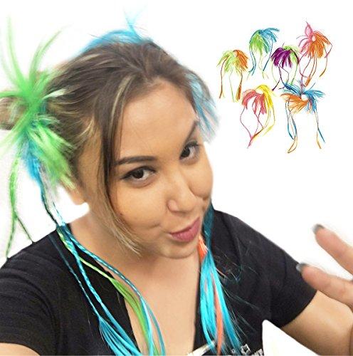 Deco4Fun Set of 12 Assorted Bright Two-Tone Neon Color Hair Attachments Scrunchies Hairbands Accessories - Coachella Outdoor Desert Festival EDC Looks Vibes - Cheerleader Dance Show Choir Performance (Desert Festival Costume)