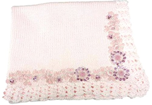 (Knitted Hand Crochet Finished Pink Cotton Blanket Trimmed with Fancy)