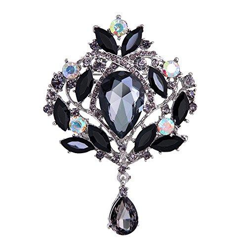 Yilanair Wedding Bridal Big Crystal Rhinestone Bouquet Brooch Pin for Women (Black)