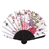 MAZIMARK--Ladies Summer Peony Flower Prints Hand-held Folding Dancing Hand Fan Craft Gift