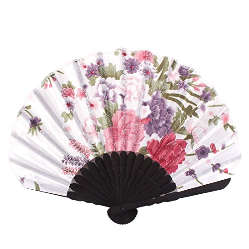 MAZIMARK--Ladies Summer Peony Flower Prints Hand-held Folding Dancing Hand Fan Craft Gift
