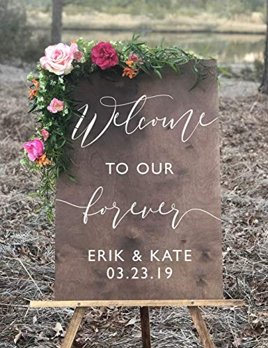 Rustic Wedding Welcome Sign | Wood Rustic Welcome to our Forever Wedding Sign | Welcome Wedding Signs | Wooden Wedding Signs - WS-153 -
