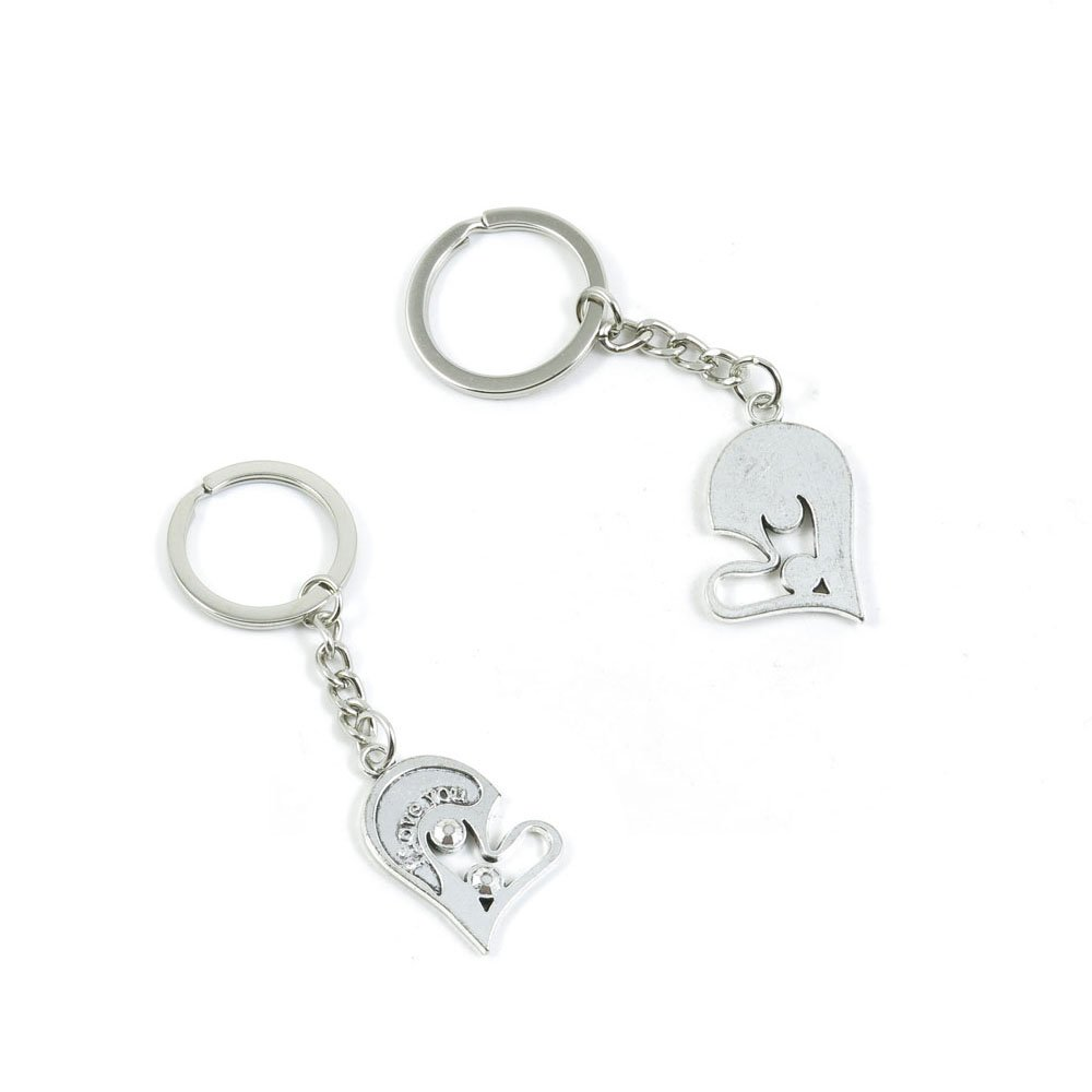 100 PCS Love Heart Keychain Keyring Jewelry Making Charms Door Car Key Tag Chain Ring L9PO8Z